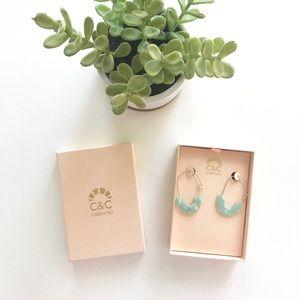 {c&c california} enamel earring sea foam green